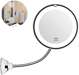 YOU CC flexible gooseneck makeup mirror, LED illuminated mirror, 10x magnifying glass, 360 degree rotating belt with adjustable gooseneck, bathroom vanity mirror with powerful suction cup, portable wireless suitable for wall-mounted (battery-powered)
