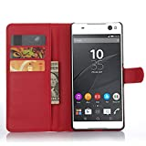 Ycloud Tasche für Sony Xperia C5 Ultra (6 Zoll) Hülle, PU Ledertasche Flip Cover Wallet Hülle Handyhülle mit Stand Function Credit Card Slots Bookstyle Purse Design rote