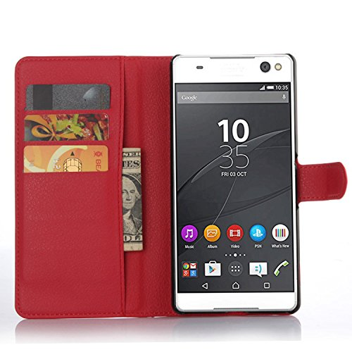 Ycloud Tasche für Sony Xperia C5 Ultra (6 Zoll) Hülle, PU Ledertasche Flip Cover Wallet Case Handyhülle mit Stand Function Credit Card Slots Bookstyle Purse Design rote