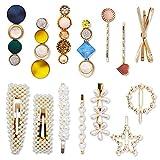 LZYMSZ 15 pinzas para el pelo con perlas, pasadores de acrílico macaron, horquillas geométricas con cristales brillantes, elegantes accesorios para el cabello para mujeres y niñas