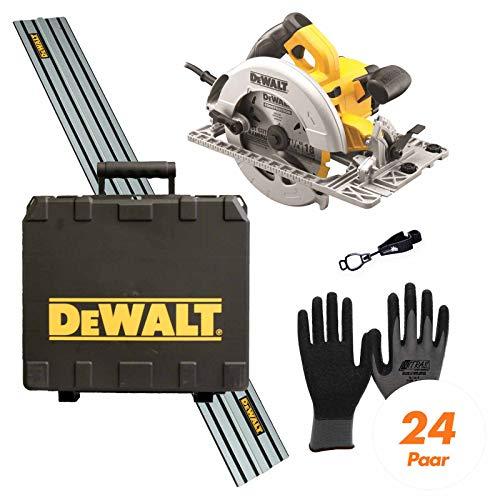 DeWALT Handkreissäge DWE576KR inkl. Führungsschiene (1500 mm), Handschuhclip, 24x Arbeitshandschuhe, 24 Zahn HM-Sägeblatt etc.