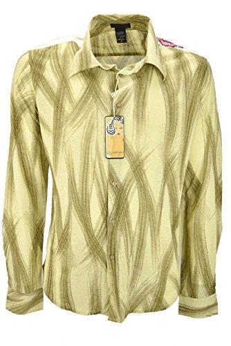 Custo Hombre de la Camisa de color Beige Pinceladas de color Marrón - bordados en los hombros - M