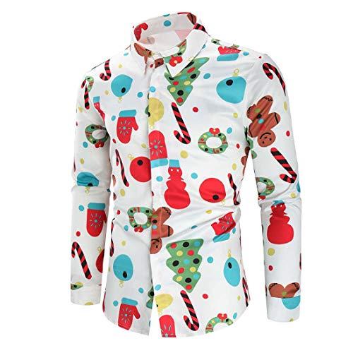 DOLAA Herren-Hemd Slim-Fit Bügelleicht Für Anzug Christmas Cat Shirt Herren 3D Druck Weihnachts Hemd Langärm Slim Fit Herren Weihnachten Christmas Shirt Schneemänner gedruckt Langarm
