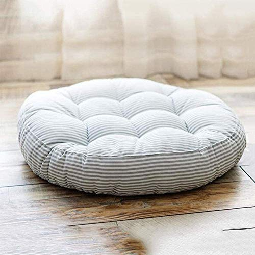 MISLD Oversized Seat Cushion Floor,linen Stripe Floor Cushion,modern Simplicity Floor Pillow,tatami Chair Pad,for Home Bay Window Beige Diameter 45cm(17.7inch) (Color : Gray, Size : 47cm(18.5inch))