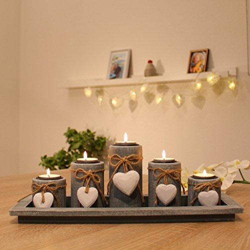 dszapaci Teelichthalter-Set auf Holz-Tablett Weihnachten Tischdekoration Weihnachtsdekoration innen Tischdeko...