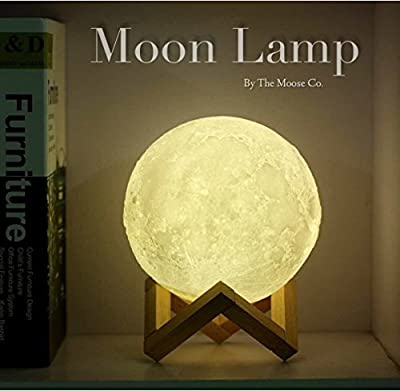 Moon Lamp by Bam Boo | 3D glowing Lamp Home Decorative Hanging Light With Wood Holder Warm and Cool White Dimmable Touch Control Night Light for kids room