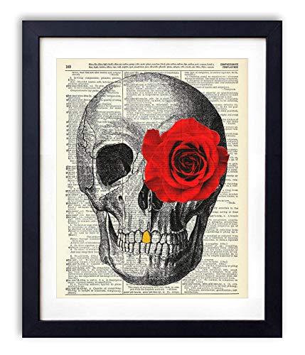 Skull, Skeleton Anatomy Vintage Dictionary Art Print, Modern Contemporary Wall Art for Home Decor, Boho Poster Sign 8x10 Inches, Unframed (Skull with Rose Eye)