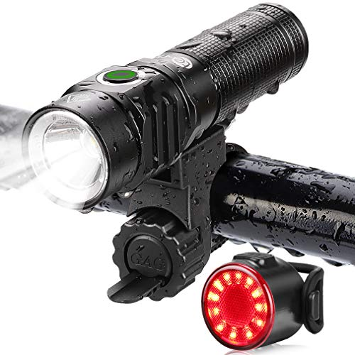 Te-Rich Bike Lights USB Rechargeable, LED Cycling Light Front and Back, 800 Lumen Headlight Flashlight and Rear Taillight Set, Easy to Use, Road/Moutain Bicycle Accessories for Kids, Men and Women