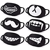 CIKIShield 6Pack Funny Black Face Mask Washable Reusable Face Cover for Teens Men Women Boy Kids (Only Over 10 Years Old)