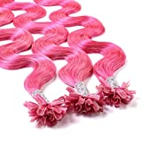 Hair2Heart 25 x 0.5g extensions cheveux keratine à chaud - 60cm, couleur #Rose, ondulé