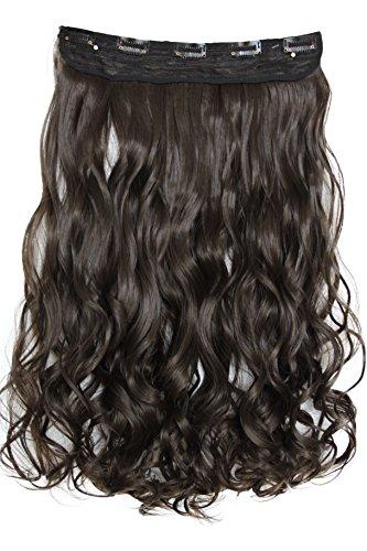 PRETTYSHOP 70cm oder 55cm Clip In Extensions Halbperücke Haarverlängerung Haarverdichtung Haarteil hitzebeständig wie Echthaar div. Farben (55cm braun #8 C53-1)