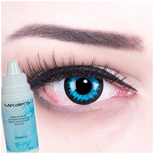 Meralens Blue Crystal Kontaktlinsen mit 60ml Pflegemittel mit Behälter ohne Stärke, 1er Pack (1 x 2 Stück)