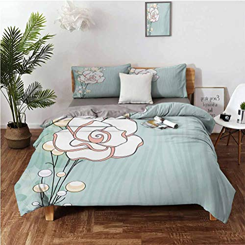 Flower Stylish and Exquisite Home Decoration Design 3 Piece Set Romantic Rose Sign of Eternal Love with Pearls The Purity Icon Print Suitable for Any Bedroom or Guest Room Twin(68''x90'') 2620' Baby