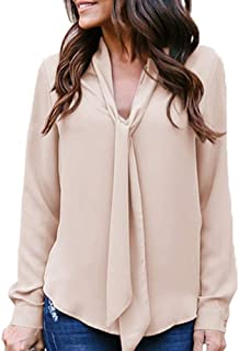 Casual Tie Chiffon Shirt for Women Solid Long Sleeved V-Neck Top Blouse