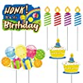 Yard Sign Birthday Honk! It's My Birthday Party Sign, Cupcake and Candles Outdoor Lawn Signs with Stakes for Boys 8 Packs