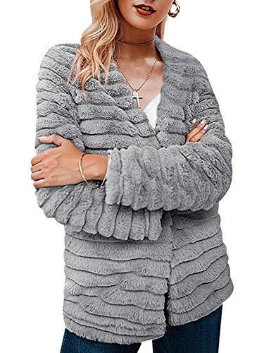 Terryfy Damen Kurz Pelzmantel Elegant Warm Flauschig Kunstfell Winter Jacke Mantel Grau