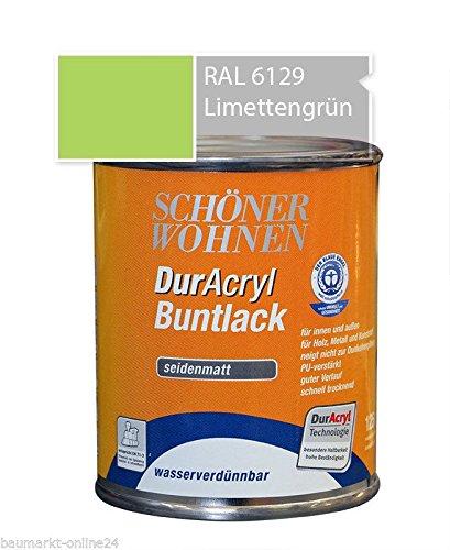 DurAcryl Buntlack 125 ml Limettengrün RAL 6129 Seidenmatt Schöner Wohnen