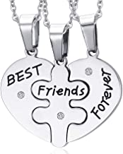 VNOX 3 Piece Heart Puzzle Piece Necklace Set Personalized Customized BBF Friendship Necklace for 3