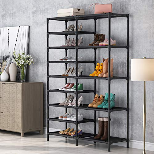 Tribesigns Shoe Rack 9 Tiers Shoe Tower Shoe Shelf Stackable Space Saving Shoe Storage Cabinet Holds 28 Pairs