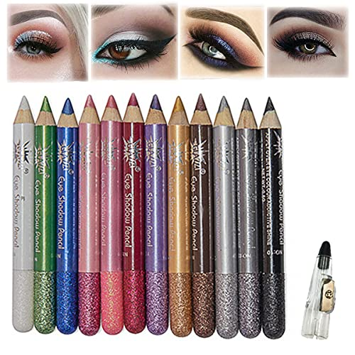 MEICOLY 12 Pcs Eyeshadow Stick Set,Colorful Shimmer Eyeshadow Pencil Crayon,Pro Waterproof & Long Lasting Eyeshadow Sticks with Large Hole Sharpener