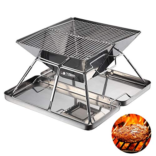 Barbecue a carbonella portatile in acciaio inox, pieghevole, da viaggio, spiaggia, parco, giardino, pesca, con borsa in tessuto Oxford (inclusa scatola)