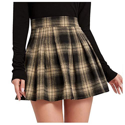NAQUSHA Falda de verano para mujer de moda retro punk sólido falda correa cremallera falda corta falda plisada