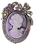 Alilang Vintage Inspired Rhinestone Victorian Lady Cameo Brooch Pin Flower Ribbon Bow Pendant Lavender Purple