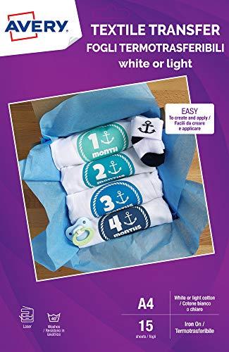 Avery UK MD1004.UK - Carta per trasferimento tessile per cotone leggero, stampanti laser, 1 trasferimento in tessuto per foglio A4, 15 fogli per confezione, colore: Bianco