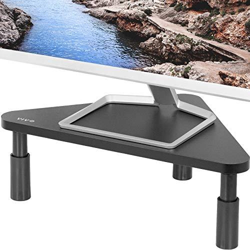 VIVO Corner 17 inch Monitor Riser, Wood & Steel Desktop Height Adjustable Stand, Ergonomic Desk and Tabletop Organizer, Black STAND-V000DC