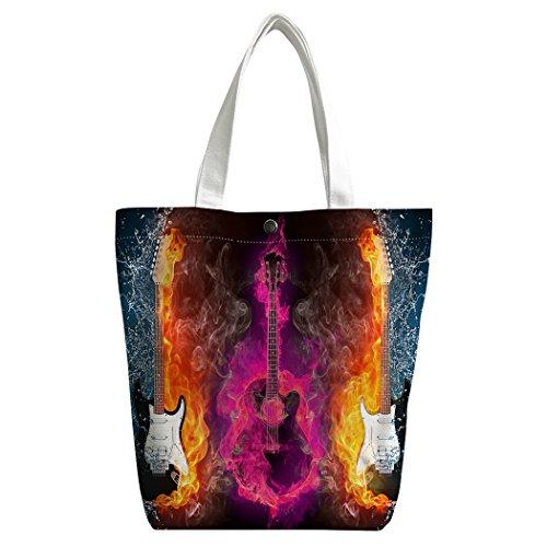Violetpos activas Canvas bolso bandolera escolar Lunch–Bolsa de la compra para guitarra eléctrica Alma Fuego jeringuillas