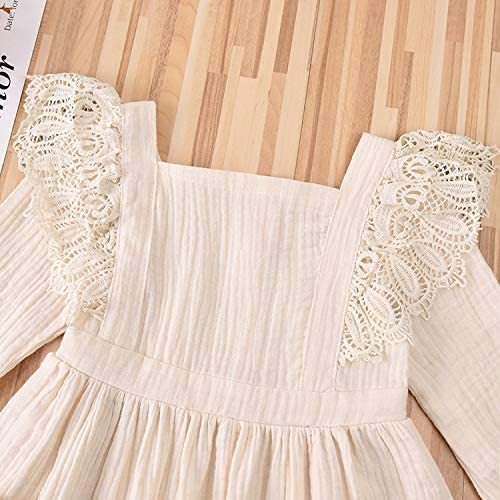Toddler Baby Girl Clothes Cotton Linen Lace Princess Overall Pocket Dress Playwear Fall Outfits