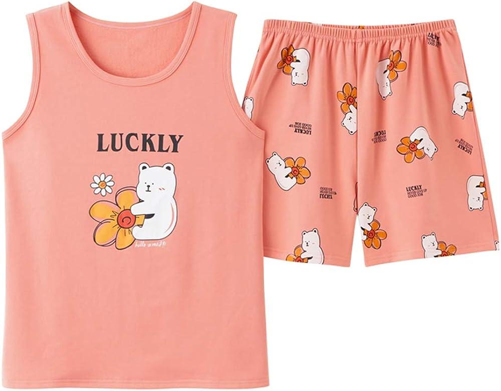 KINYBABY Big Girls Sleeveless Pajama Sets Strawberry Printed Sleepwear Cotton Nightwear Sleep Shirt with Shorts (Sun Bear,16-18 Years/Tag XXXL)