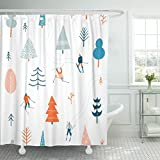 Emvency Shower Curtain Cold Ski with People Skiing in The Snowing Forest Christmas Winter Waterproof Polyester Fabric 72 x 72 Inches Set with Hooks