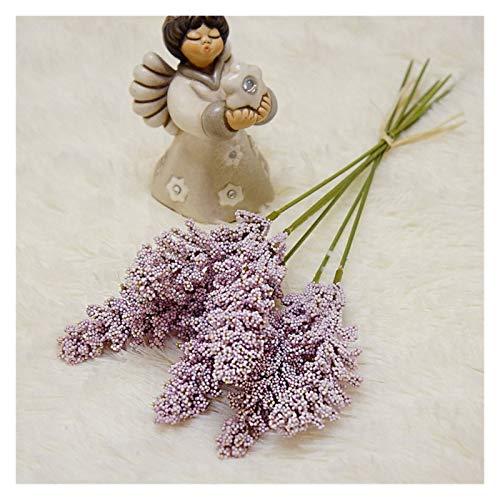 Künstliche Blumen 6 Teile/Paket Künstliche Vanille Mini Foam Beere Spike Künstliche Blumen Blumenstrauß Für Wohnanlage Wanddekoration Getreide Pflanze Haufen (Color : Light Purple)