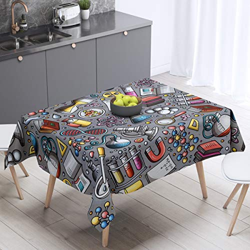 Laboratory Table Cover Chemistry Lab Table Clothes for Kids Teen Boys Young Man Test Tube Microscope School Graffiti Tablecloths Chemical Elements Science Theme Tabletop Collection 55'x55' Gray