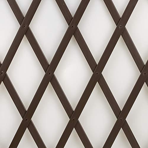 Treplas 1,00x2 m, Marrone, Traliccio Estensibile in PVC per Sostegno a Muro di Fiori e Piante Rampicanti