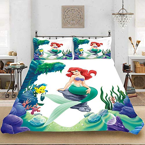 Meesovs Soft 3 Piece Duvet Cover Set (1 Comforter Cover with 2 Pillow Cases) for Girls Boys, 3D Mermaid girl under the sea with Christmas Bedding Sets, King 240 X 220 cm Fade & Stain Resistant - Comf