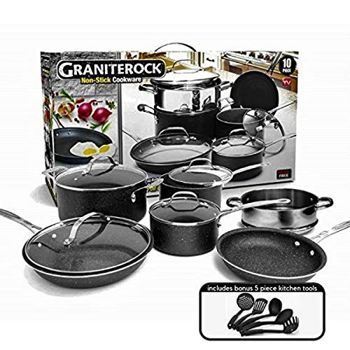 GRANITESTONE 2807 10-Piece Non-Stick Ultra Durable, Mineral & Granite...