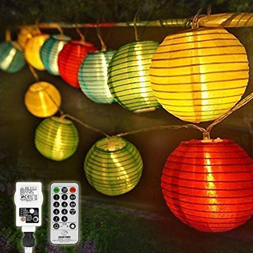 40Led 33ft Lantern String Lights, 8 Modes 4 Colous Lantern Fairy Lights Plug in with Remote Control, Waterproof Lantern Lights Outdoor for Garden Wedding Party Ornaments [Energy Class A+++]