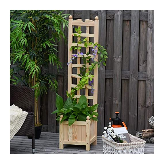 "Outsunny 11.75"" x 11.5"" x 49.25"" Raised Garden Bed with Trellis Board Back & Strong Wooden Design & Materials 6 ✅WIDE USE: With this helpful flower shelf, you can cultivate plants, making it more convenient to manage and take care them, in your patio, yard, garden, greenhouse, or anywhere you'd like to grow vegetables, herbs, or flowers ✅DECORATIVE EFFECT: The grid on the back can be decorated with rattans or around LED lights, making it a beautiful landscape and create a rustic style. It also offers ample growing space for plants, such as grapes, creepers, etc ✅CUSTOMIZABLE: The flower shelf can be painted in the varnish you'd prefer to blend well with your porch, patio or balcony. Ideal for people looking for a bit of personal touch"