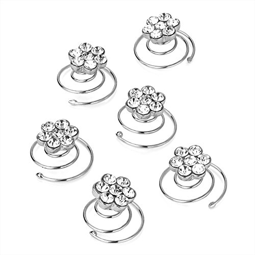 Set of 6 Clear Crystal Flower Design Silver Hair Twist Coils Jewels Bridal by Pritties Accessories