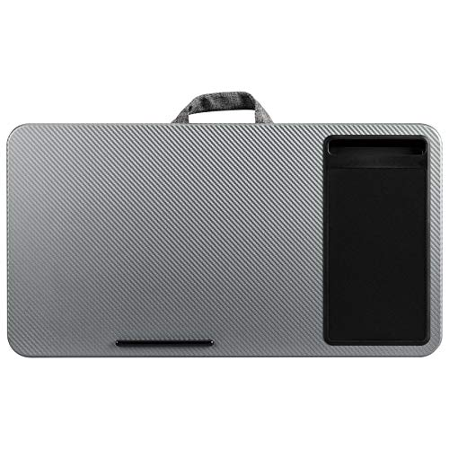 LapGear Home Office Lap Desk with mouse pad and phone holder - Silver Carbon - Fits up to 17.3 Inch laptops - Style No. 91485