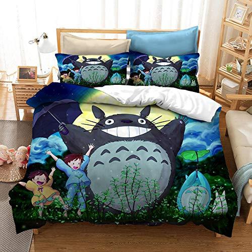 ZKDT 3D Totoro - Juego de cama de microfibra (estilo 4,135 x 200 cm)
