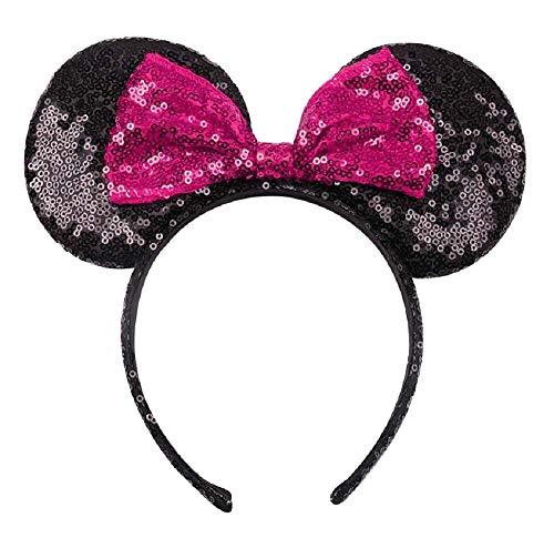 Lovelegis Minnie Haarband - Maus - mit Ohren - Schleife - Mädchen - Frau - Karneval - Halloween - Cosplay - Pailletten - Glitzer - Schwarze Farbe Fuchsia Schleife