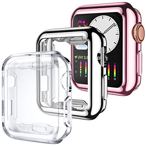 Dirrelo 3 Pack Cover Compatibile per Apple Watch Series 3/2/1 38mm, Custodia Protettiva in TPU Copertura Completa Proteggi Schermo Compatible per iWatch 3/2/1, Argento+Chiaro+Rosa