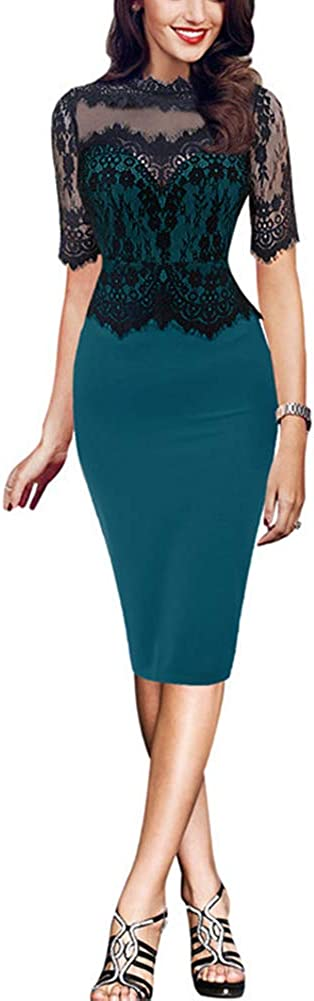 EngoodWomen Fashion Lace Colorblock Half Sleeve Slim to Work Business Bodycon Pencil Dress