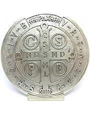 GTBITALY 69.080.30 Base medalla San Benito Medida 10 cm Plata con base expositora exorcista exorcismo