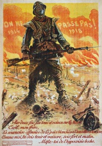 WA81 Vintage WWI French Propaganda They Shall Not Pass War Poster WW1 Re-Print - A1 (841 x 610mm) 33' x 24'
