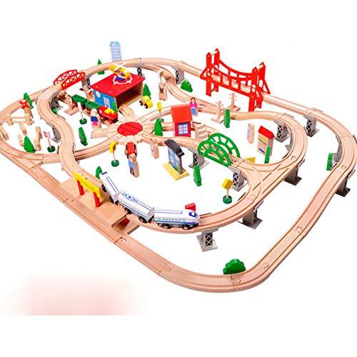 XIALIUXIA 130Pcs Holzeisenbahngleise Set/Magnetic Train Cars Und Holzbrücke Eisenbahn Set Für Kinder, Kleinkinder Jungen Und Mädchen 3, 4, 5 Jahre Alt Und Bis