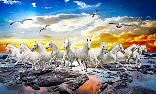 Legpuzzels Voor Kinderen 1000 Stukjes, Zonsondergang Aan Zee, Galopperende Paarden,Puzzel Spelletjes Woondecoratie Cadeaus